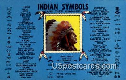 Indian Symbols - Lake Geneva, Wisconsin WI Postcard