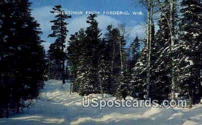 Snow Covered Trail - Frederic, Wisconsin WI Postcard
