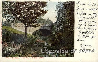 Stone Bridge - Lake Park, Wisconsin WI Postcard