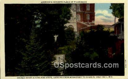 Sacred Heart Sanitarium - Holy Hill, Wisconsin WI Postcard