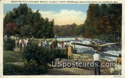 Bear Trap Falls - Shawano, Wisconsin WI Postcard