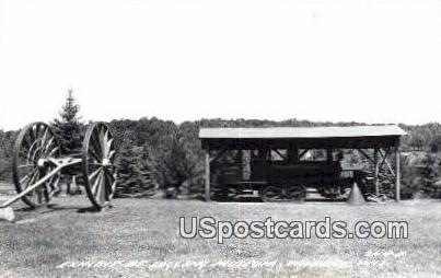 Exhibit, Logging Museum, Real photo - Wabeno, Wisconsin WI Postcard