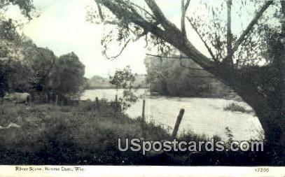 River Scene - Beaver Dam, Wisconsin WI Postcard