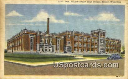 WM Horlick Senior High School - Racine, Wisconsin WI Postcard