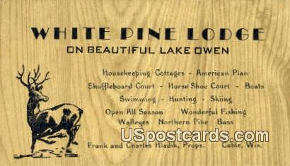 White Pine Lodge - Cable, Wisconsin WI Postcard