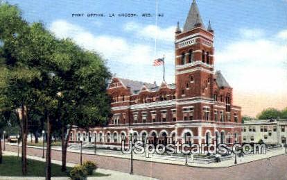 Post Office - La Crosse, Wisconsin WI Postcard