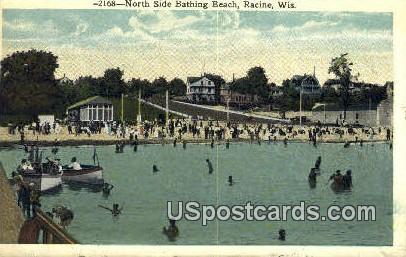 North Side Bathing Beach - Racine, Wisconsin WI Postcard
