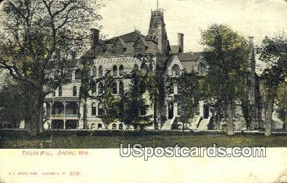 Taylor Hall - Racine, Wisconsin WI Postcard