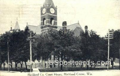 Richland Co Court House - Richland Center, Wisconsin WI Postcard