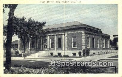 Post Office - Two Rivers, Wisconsin WI Postcard