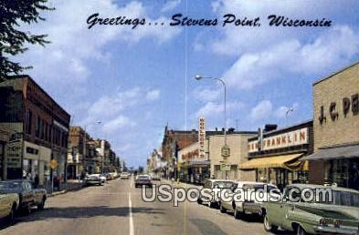 Main Street - Stevens Point, Wisconsin WI Postcard