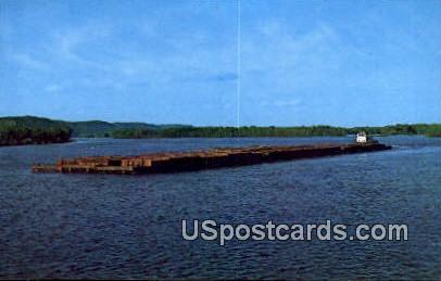 Mississippi Tow Boat - Great River Road, Wisconsin WI Postcard