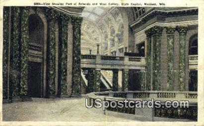 Rotunda, West Gallery, State Capitol - Madison, Wisconsin WI Postcard
