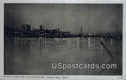 Fox River - Green Bay, Wisconsin WI Postcard