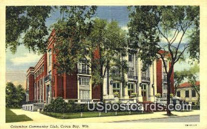 Columbus Community Club - Green Bay, Wisconsin WI Postcard