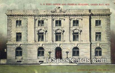 US Post Office & Federal Building - Green Bay, Wisconsin WI Postcard