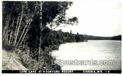 Long Lake, Rockford Resort - Sarona, Wisconsin WI Postcard
