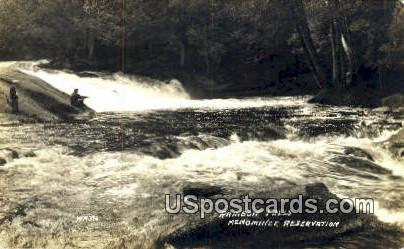 Menominee Reservation Real Photo - Rainbow Falls, Wisconsin WI Postcard