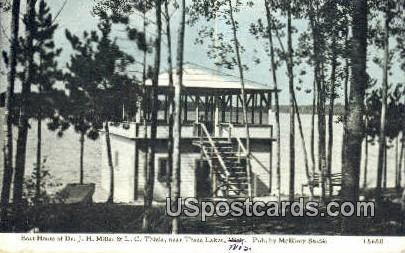 Boat House, Dr JH Miller & LC Thiele - Three Lakes, Wisconsin WI Postcard