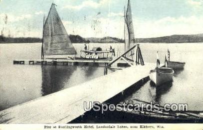 Pier, Sterlingworth Hotel - Elkhorn, Wisconsin WI Postcard