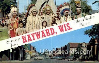 Muskie Fishing - Hayward, Wisconsin WI Postcard