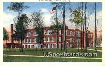 High School, Antigo - Wisconsin WI Postcard