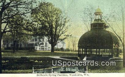 Bethesda Spring Pavilion - Waukesha, Wisconsin WI Postcard