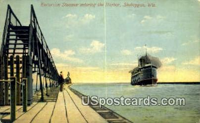Excursion Steamer, Harbor - Sheboygan, Wisconsin WI Postcard