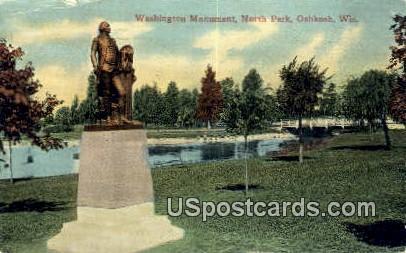 Washington Monument, North Park - Oshkosh, Wisconsin WI Postcard