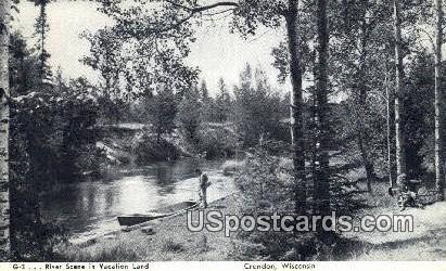 River Scene, Vacation Land - Crandon, Wisconsin WI Postcard