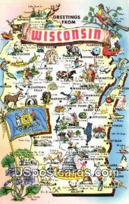 Greetings from, Wisconsin     ;     Greetings from, WI Postcard