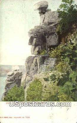Great Stone Face - Devil's Lake, Wisconsin WI Postcard