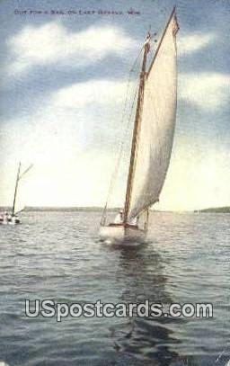 Out for a Sail - Lake Geneva, Wisconsin WI Postcard