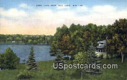 Long Lake - Rice Lake, Wisconsin WI Postcard