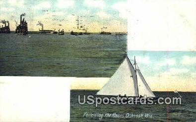 Following the Races - Oshkosh, Wisconsin WI Postcard