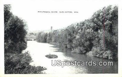 Pecatonica River - Darlington, Wisconsin WI Postcard