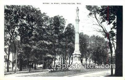 Scene in Park - Darlington, Wisconsin WI Postcard