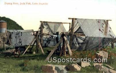 Drying Nets, Jack Fish - Lake Superior, Wisconsin WI Postcard