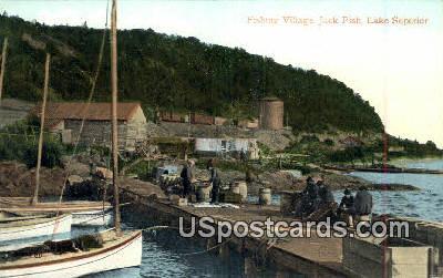 Fishing Village, Jack Fish - Lake Superior, Wisconsin WI Postcard