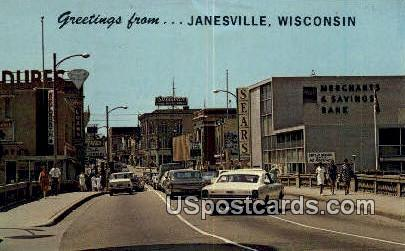 Home of Parker pen & Chevrolet - Janesville, Wisconsin WI Postcard