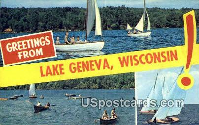 Lake Geneva, Wisconsin     ;     Lake Geneva, WI Postcard