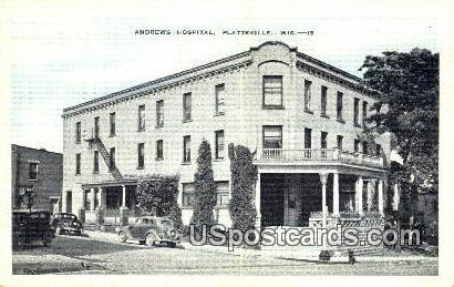 Andrews Hospital - Platteville, Wisconsin WI Postcard