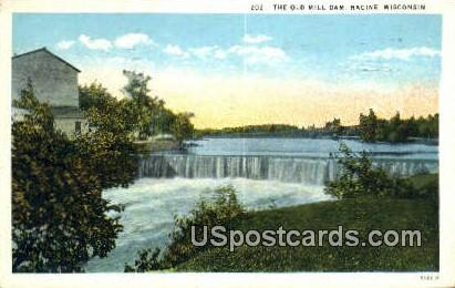 Old Mill Dam - Racine, Wisconsin WI Postcard
