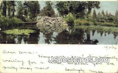 Pond in Coeur d'Alene Park - Spokahe, Wisconsin WI Postcard