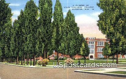 Glimpse of State Teachers' College - Superior, Wisconsin WI Postcard