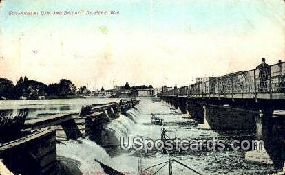 Government Dam & Bridge - De Pere, Wisconsin WI Postcard