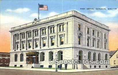 Post Office - Superior, Wisconsin WI Postcard