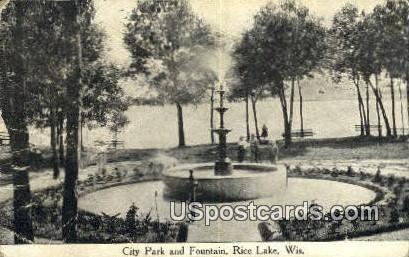 City Park & Fountain - Rice Lake, Wisconsin WI Postcard