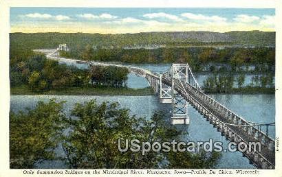 Suspension Bridge - Prairie Du Chien, Wisconsin WI Postcard