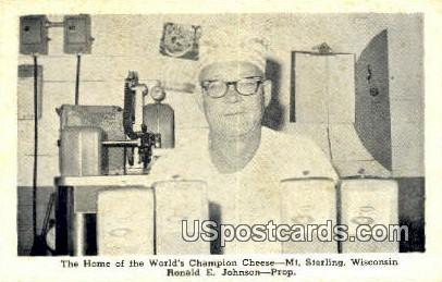 Home of the World's Champion Cheese - Mt Sterling, Wisconsin WI Postcard